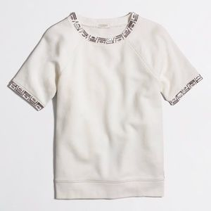 J. Crew Jeweled Short Sleeve Sweatshirt